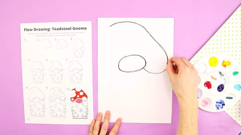 Image showing half of the gnomes hat being drawn in the 2nd step of the gnome drawing guide.
