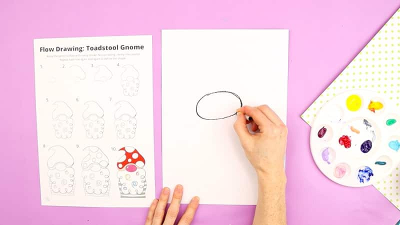 Image showing a large round nose drawn in the center of the card stock.
