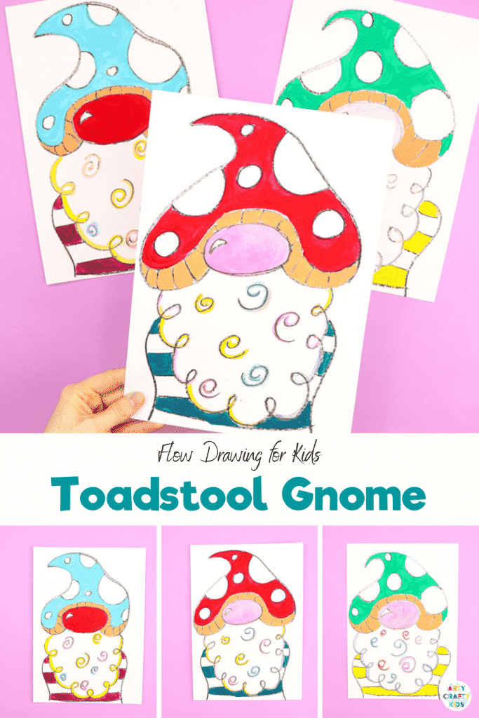 Learn how to draw a gnome with our easy step-by-step flow drawing guide. Using simple shapes and lines, our how to draw tutorial will have your children drawing a toadstool gnome with ease.