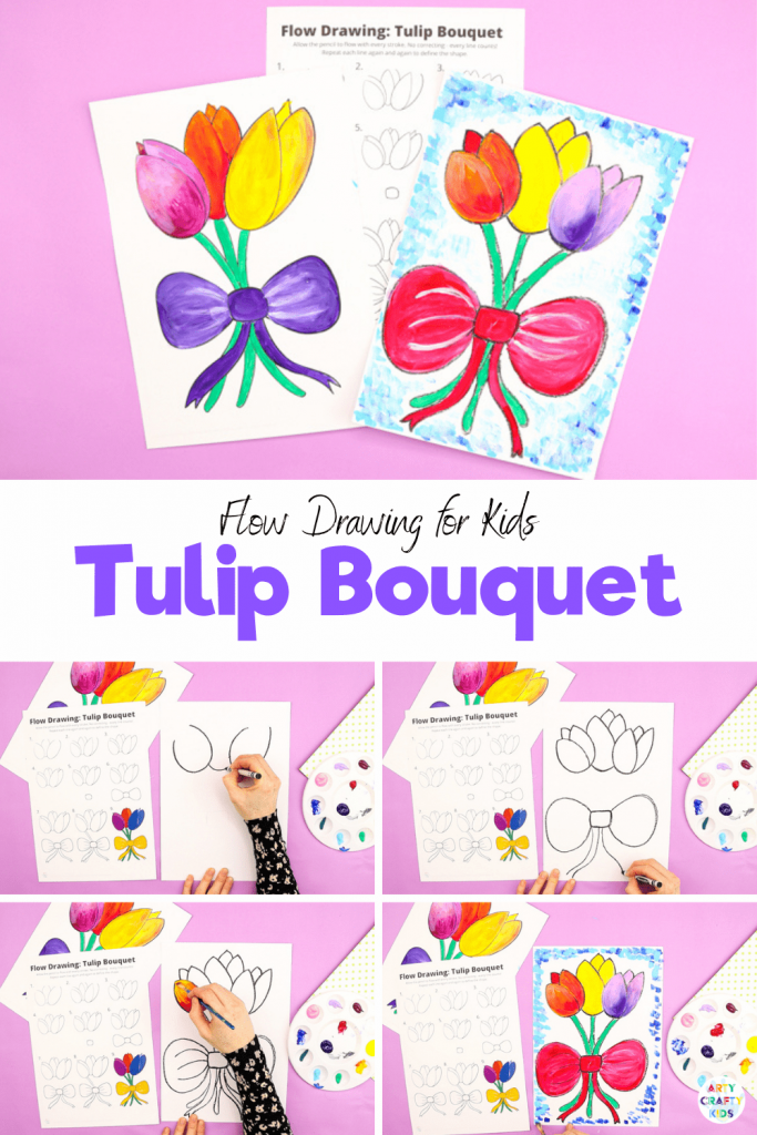 How to Draw a Tulip Bouquet: Learn how to draw a tulip with our easy to follow step-by-step guide. We encourage children to use simple shapes and lines to build their flower, often repeating lines for greater definition. Our tulip drawing guide uses a flow drawing technique that aims to engage children in natural and rhythmical strokes.