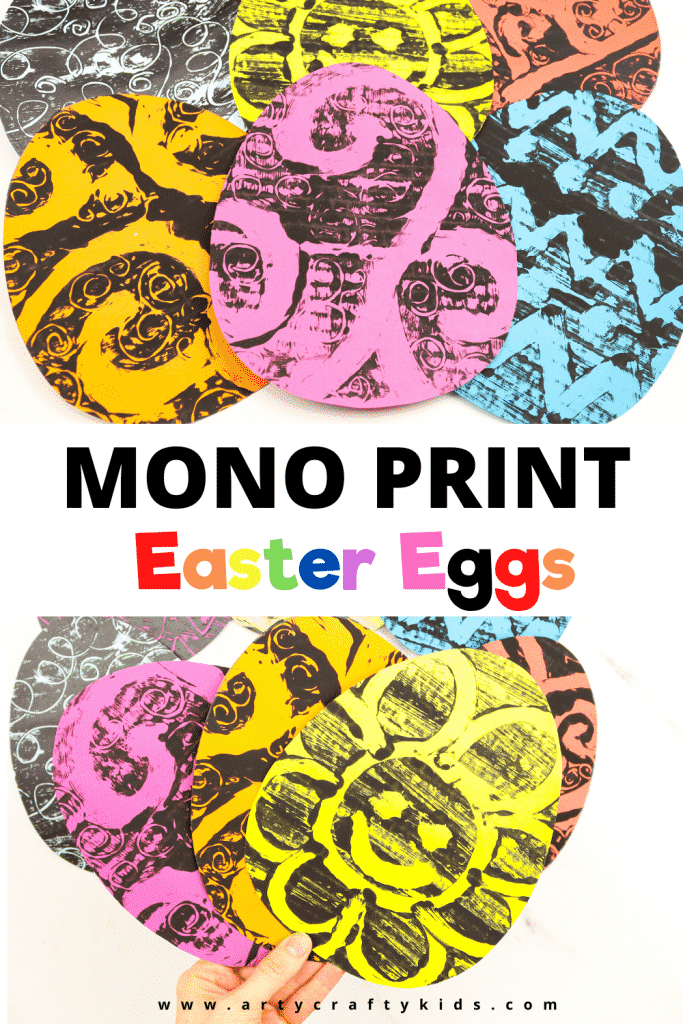 Monoprint Easter Egg Art for Kids - A fun and engaging Easter Art Project kids will love. This art project introduces children into basic mono print art techniques. To start, download our free Egg Template.