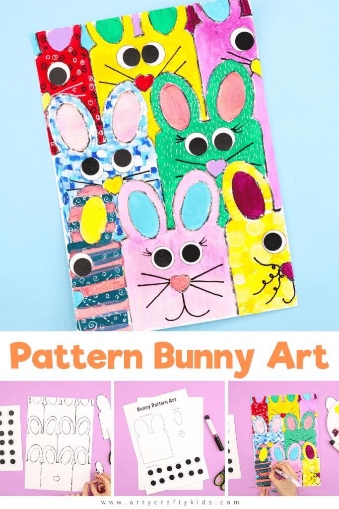 Pattern Bunny Art: Get ready to hop into spring with this gorgeous Easter themed Kids Art Project! Our pattern bunny art is so simple - all kids need to do is draw around the template and repeat! A fantastically easy Easter Art Project for Kids of all ages.