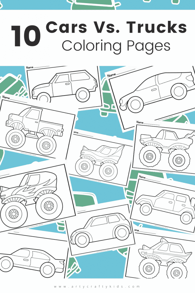 Free printable Cars Vs. Monster Trucks Coloring Pages for Kids. Simply designed, kids will love coloring these fun Car and Monster Coloring Pages.