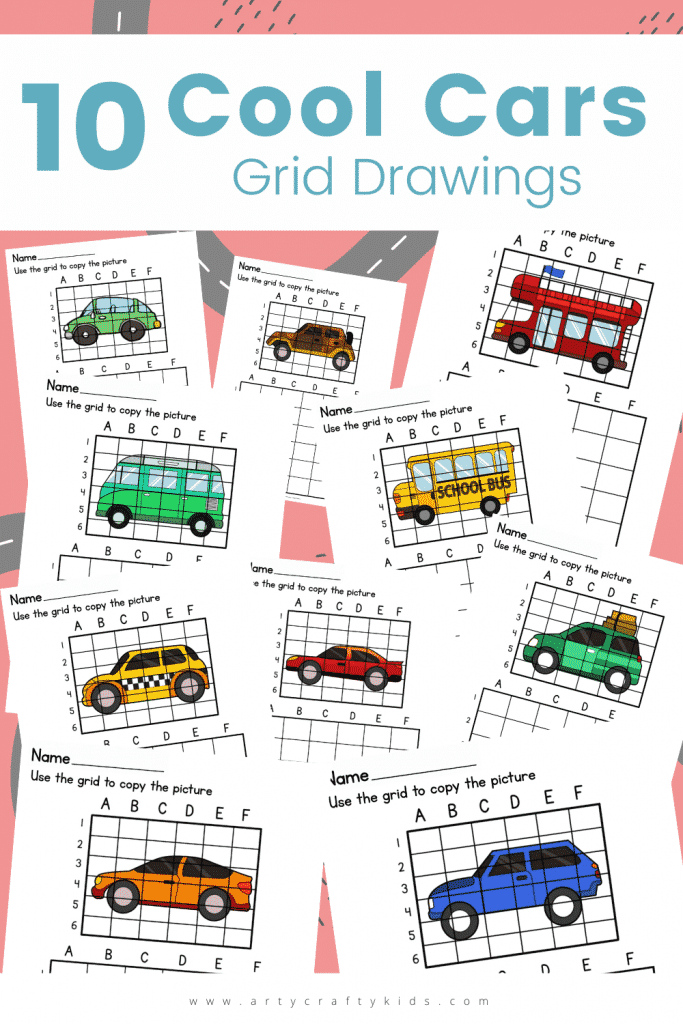 These 10 Cool Car Grid Drawings are great for practicing drawing skills and encouraging good pencil control all whilst having fun!