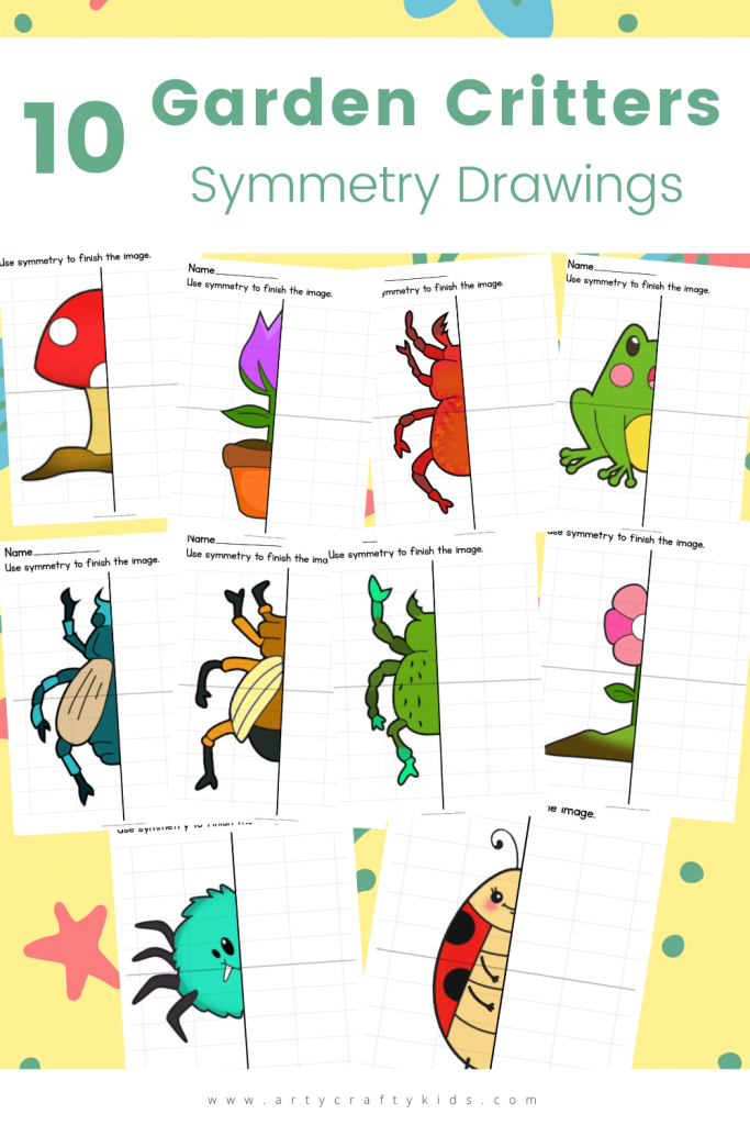 Our 10 Garden Critter Symmetry Drawings are super fun for practicing drawing skills and improving hand eye co-ordination whilst having fun!
