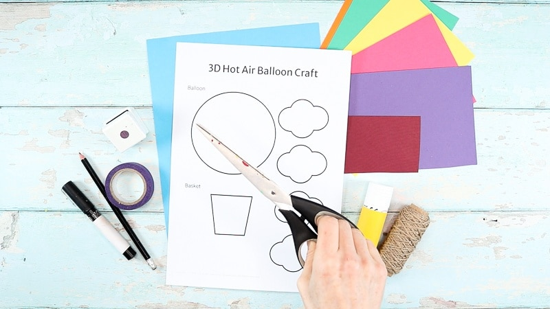Image showing the Hot Air Balloon Template and materials to make the craft.