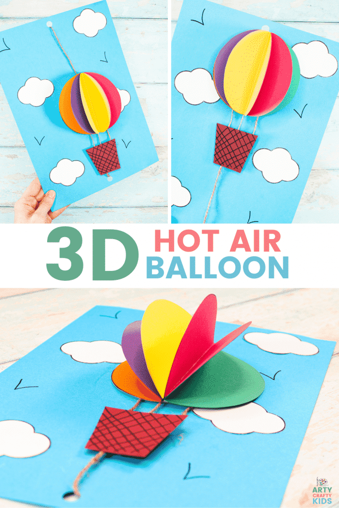 3D Hot Air Balloon Craft for Kids - An easy to make Hot Balloon Craft that kids will love! Featuring a 3D balloon and a pulley system to make it fly!