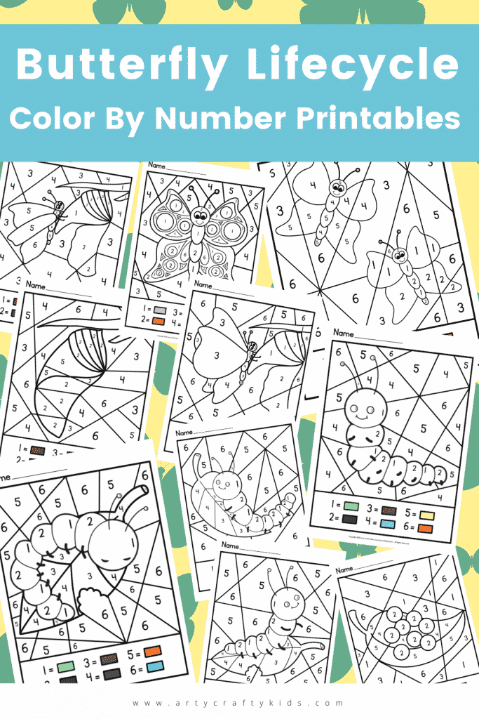 Butterfly Life Cycle Color By Number Sheets: These playful color by number pages show all the stages of the butterfly life cycle, allowing children to engage in active learning as they progress through the coloring sheets, ordering and discussing the butterfly life cycle as they color.