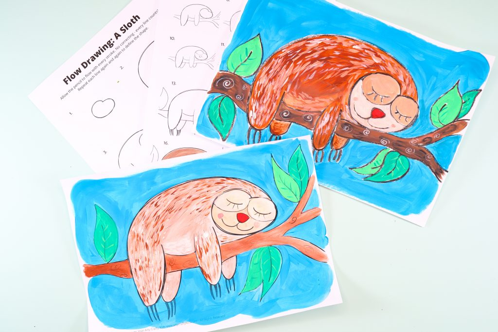 Easy step-by-step How to Draw a Sloth tutorial for kids. Using simple lines and shapes, children will learn how to draw a cute sloth in just a few simple steps.