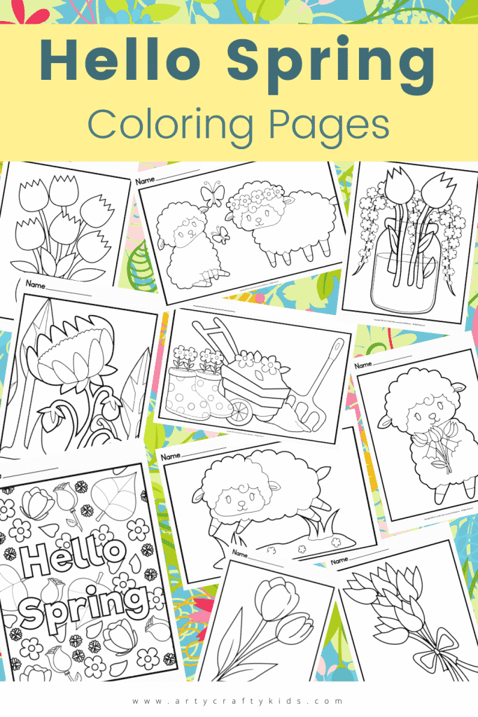 10 Hello Spring Coloring Pages: Welcome Spring with this gorgeous collection of hand-drawn Spring Coloring Pages for Kids, with images of Spring Lambs, Spring Boots, Butterflies, Flowers, Petals and more. This super sweet collection of coloring pages are so much fun to color and are made easy with our use of bold, smooth lines, making this Spring coloring set particularly appealing to preschoolers who are beginning to take an interest in coloring pages.