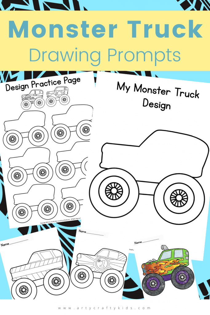 Monster Truck Drawing Prompts: The best bit about designing your own Monster Truck is that the process extends beyond drawing a doodle or a patten on the side. Monster Trucks are jam-packed with personality and the design process should include oodles of creative thinking about their characteristics, talents and what the colors represent. They can take inspiration from popular monster trucks such as El Toro Loco, EartherShaker, Megladon etc and draw their very own Monster Jam contender.