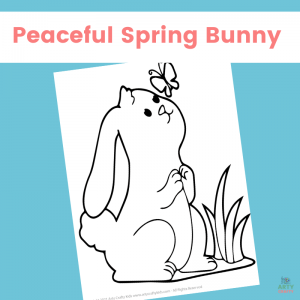 Peaceful Spring Bunny Coloring Page for Kids