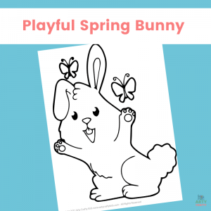 Playful Spring Bunny Coloring Page for Kids