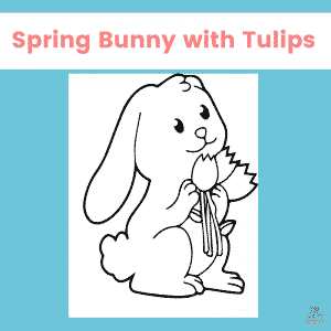 Spring Bunny Coloring Page for Kids