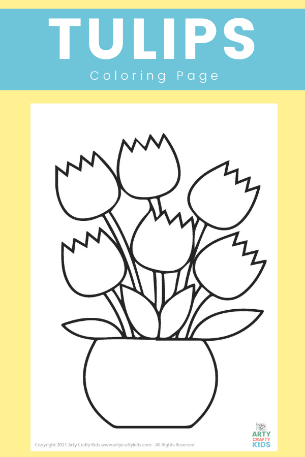 Free Spring Tulip Coloring Page for Kids. Tulips are one of our favorite flowers. They come in a huge variety of colors and shapes, with some really interesting color combinations and blends. What colors will your children choose for their tulip bouquet ?