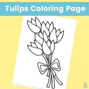 Spring Tulip Bouquet Coloring Page for Kids. Free Spring Coloring Page.