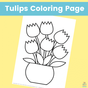 Free Spring Tulips Coloring Page for Kids