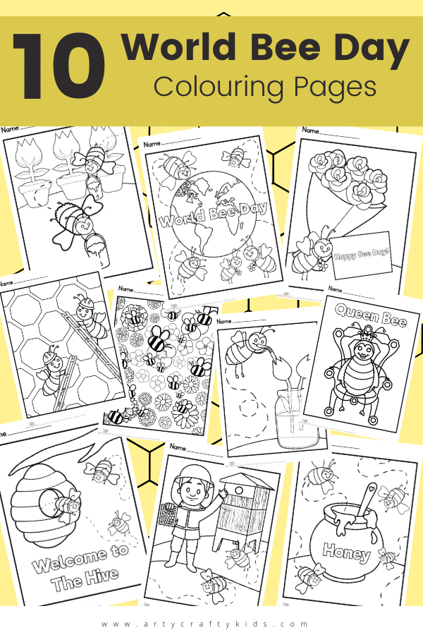 Get children buzzing to learn about bees with out 10 World Bee Day Coloring Pages, featuring bumble bees, worker bees and the Queen Bee!