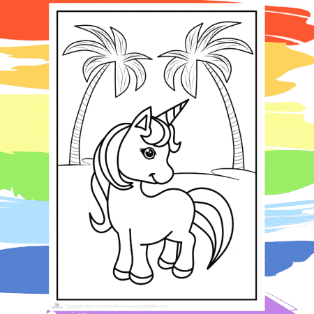 At the Beach Unicorn Coloring Page - part of a collection of 40 Unicorn Coloring Sheets.