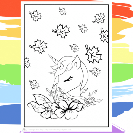 Autumn Unicorn Coloring Page - part of a collection of 40 Unicorn Coloring Sheets.