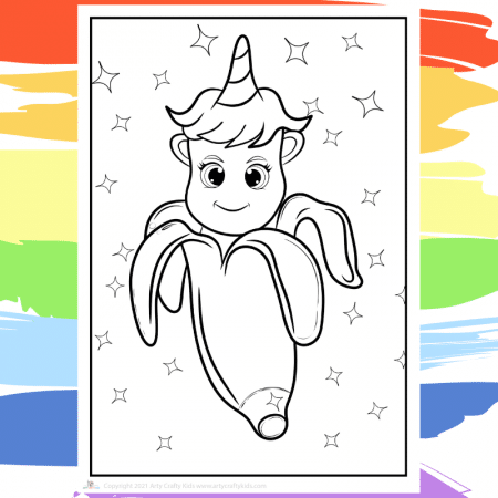 Banana Unicorn Coloring Page - part of a collection of 40 Unicorn Coloring Sheets.