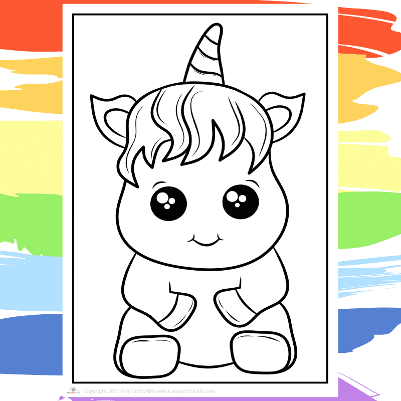 Cutie Unicorn Coloring Page - part of a collection of 40 Unicorn Coloring Sheets.