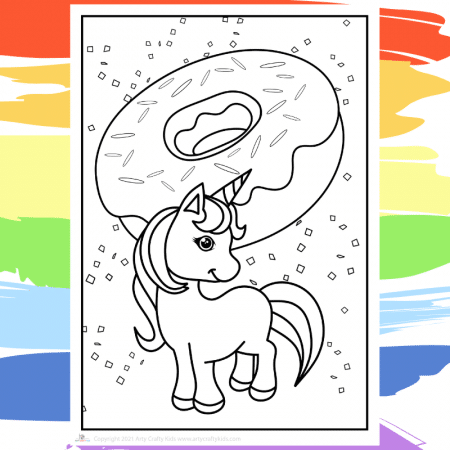 I love Doughnuts Unicorn -  part of a collection of 40 Unicorn Coloring Sheets.