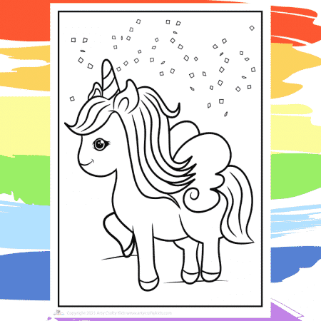 Pegasus Unicorn Coloring Page  - part of a collection of 40 Unicorn Coloring Sheets.