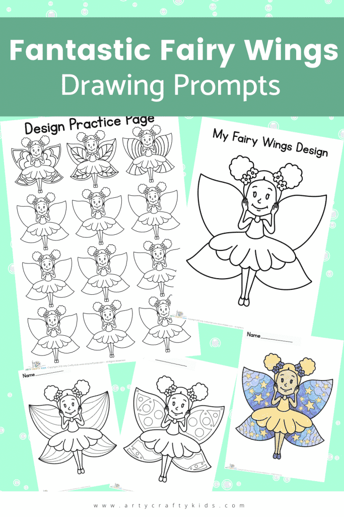 Fantastic Fairy Wings Drawing Prompts: This cute printable pack includes Fairy Coloring Pages, Design Prompt and Practice Sheet!