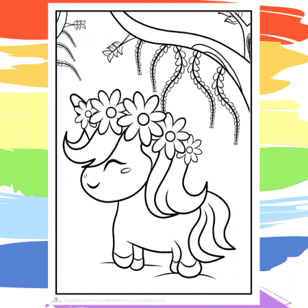 Flower Power Unicorn Coloring Page -  part of a collection of 40 Unicorn Coloring Sheets.