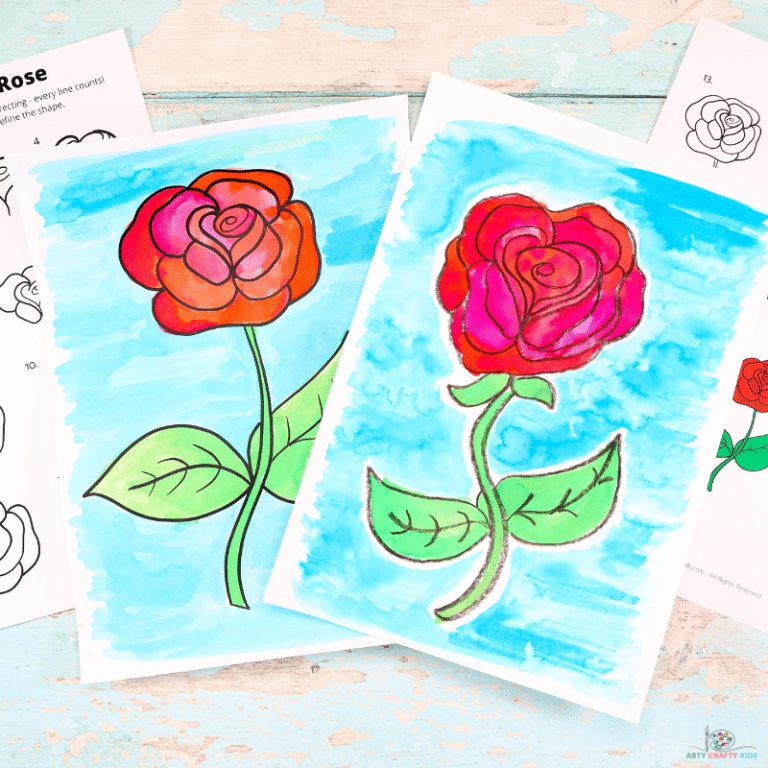 How to Draw a Rose - Step by Step Guide - Easy How to Draw a Rose Tutorial for Kids