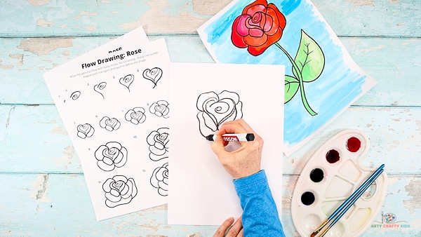 Repeat the process of drawing petals to create a full bodied rose.