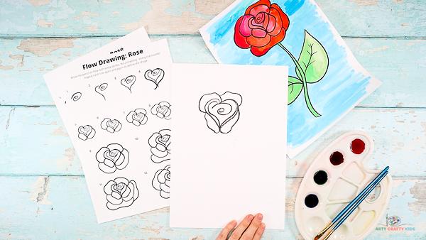 Draw the second set of rose petals.