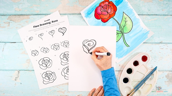 Draw the first set of rose petals.