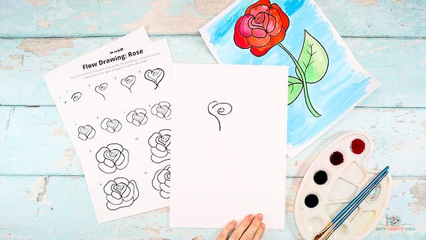Draw half a heart shape around the rose center.