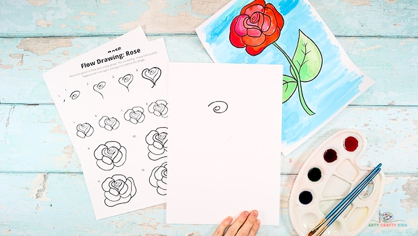 Draw the center of the rose.
