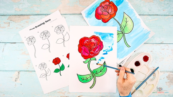 Add a contrasting background color to the rose.