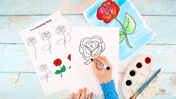 Draw the rose a stem, sepal and leaves.