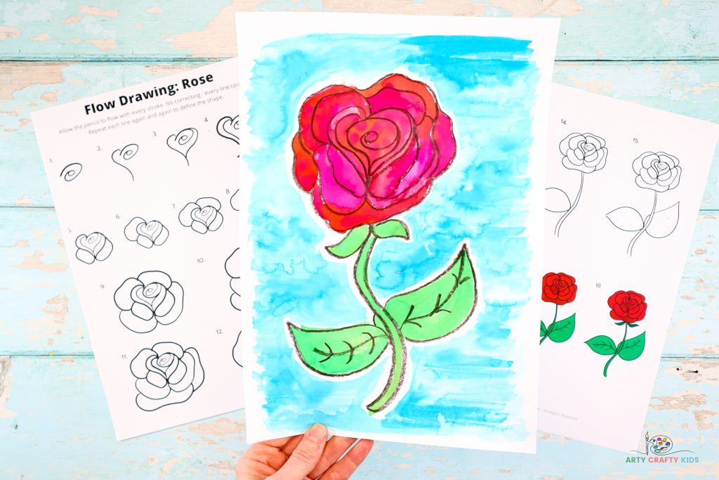 Learn how to draw a rose with our easy to follow step-by-step tutorial. This beautiful full bodied rose I can be drawn with just a few simple and repetitive lines, and once the magic formula for drawing a rose has been revealed, beginners and kids will be creating full bouquets of roses in no time!