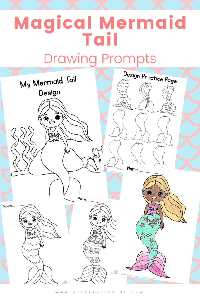 Magical Mermaid Tail Drawing Prompts: This printable pack includes Mermaid Coloring Pages, Design Prompt and Practice Sheet!