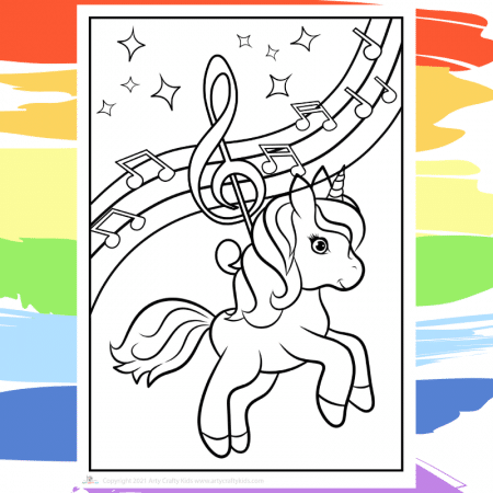 Musical Unicorn Coloring Page - part of a collection of 40 Unicorn Coloring Sheets.