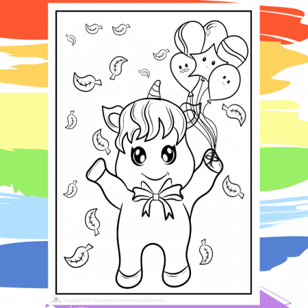 Party Unicorn Coloring Page - part of a collection of 40 Unicorn Coloring Sheets.