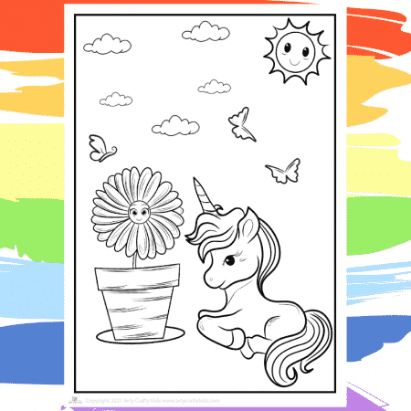 Sunshine Unicorn Coloring Page - part of a collection of 40 Unicorn Coloring Sheets.