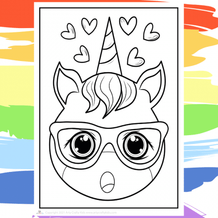 Singing Unicorn Coloring Page - part of a collection of 40 Unicorn Coloring Sheets.