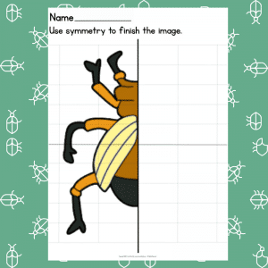 Stag Beetle Symmetry Drawing Prompt for Kids - Learning Symmetry