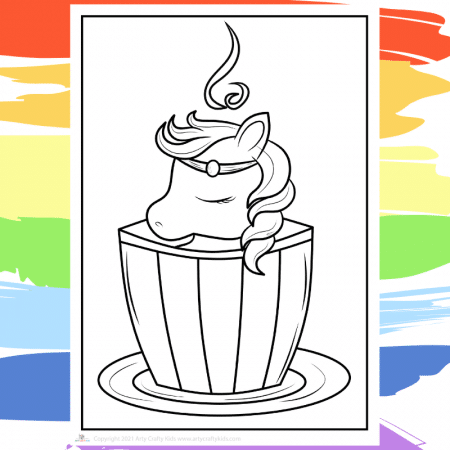 Teacup Unicorn Coloring Page - part of a collection of 40 Unicorn Coloring Sheets.