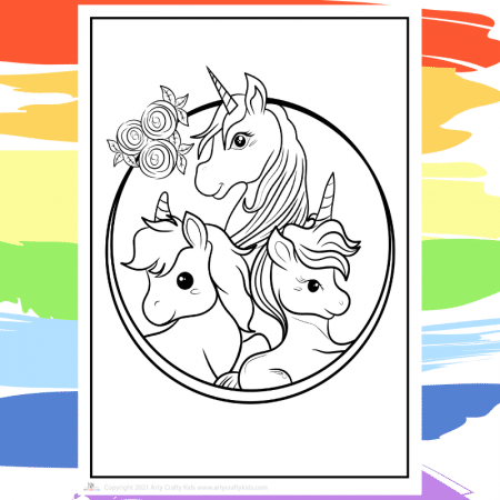 Unicorn Family Coloring Page - part of a collection of 40 Unicorn Coloring Sheets.