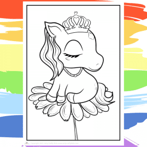 Unicorn Flower Coloring Page