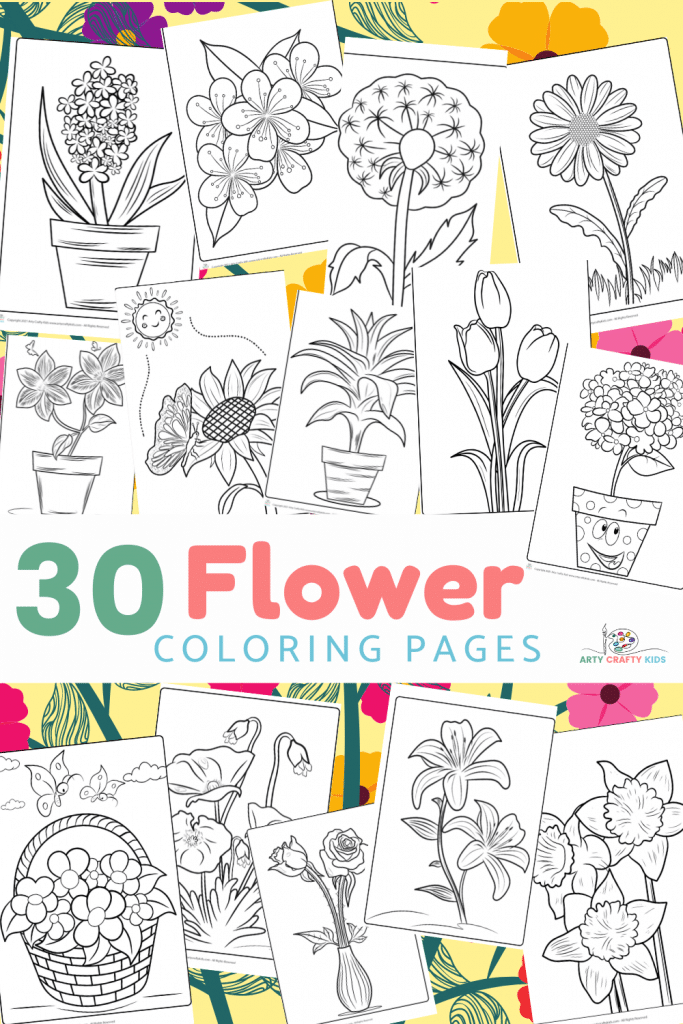 30 Flower Coloring Pages featuring tulips, roses, daises, sunflowers, lilies and more! The very best collection of flower coloring sheets for kids and coloring enthusiasts.