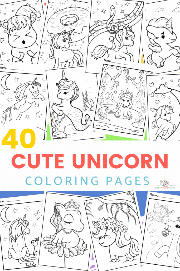 40 Cute Unicorn Coloring Pages for Kids put together in a bumper printable unicorn coloring book. What's not to love about the beautiful and magnificent unicorn. This unique and hand-drawn collection of Unicorn Coloring Pages captures the unicorn in all its celestial glory, with a variety of baby cute unicorns, simply drawn unicorns, a few detailed unicorns and a huge variety of super fun and creative unicorn sheets.